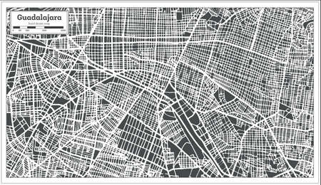 Guadalajara Mexico City Map in Retro Style. Outline Map. Vector Illustration.
