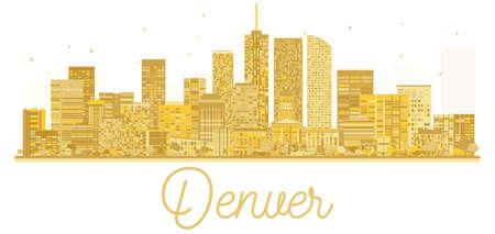 Denver USA City skyline golden silhouette. Vector illustration. Business travel concept. Denver Cityscape with landmarks.