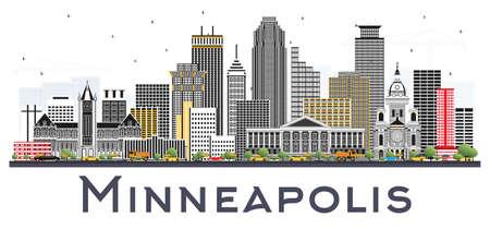 미니애폴리스 미네소타 미국 흰색 배경에 고립 된 컬러 건물과 스카이 라인. 벡터 일러스트 레이 션. 비즈니스 여행 및 현대 건축과 관광 개념입니다. 일러스트
