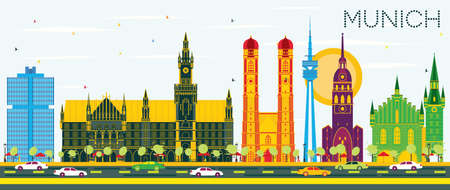 Munich Germany Skyline with Color Buildings and Blue Sky. Vector Illustration. Business Travel and Tourism Concept with Historic Architecture. Munich Cityscape with Landmarks. Çizim