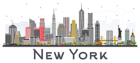 New York USA Skyline with Gray Skyscrapers Isolated on White Background. Vector Illustration. Business Travel and Tourism Concept with Modern Architecture.