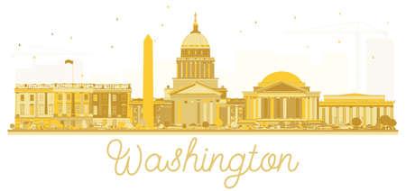 Washington dc USA city skyline golden silhouette. Vector illustration. Cityscape with landmarks.
