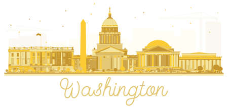 Washington dc USA city skyline golden silhouette. Vector illustration. Cityscape with landmarks.