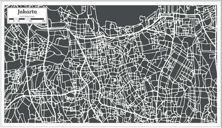 Jakarta Indonesia City Map in Retro Style. Outline Map. Vector Illustration.