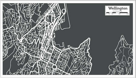Wellington New Zealand City Map in Retro Style. Overzichtskaart. Vector illustratie Stock Illustratie