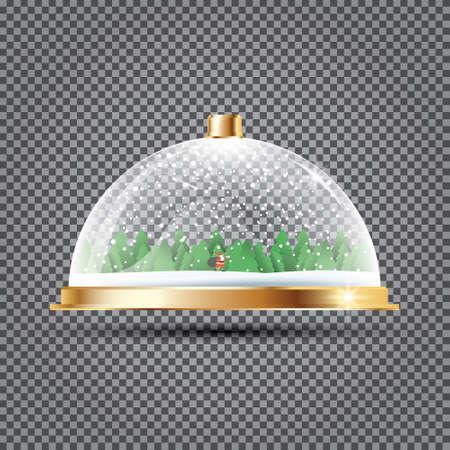 Dôme de verre avec la neige, le père Noël et les arbres Vector Illustration. Banque d'images - 92660634
