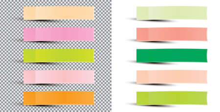 Post Note Sticker. Vector Illustration. Paper Sticky Tape With Shadow. Adhesive Office Paper Tape. Isolated Realistic.