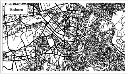Ankara Turkey Map in Black and White Color. Vector Illustration. Outline Map. Illustration