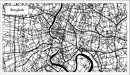 Bangkok Thailand City Map in Black and White Color. Outline Map. Vector Illustration.