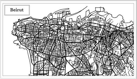 Beirut Lebanon City Map in Black and White Color. Vector Illustration. Outline Map.