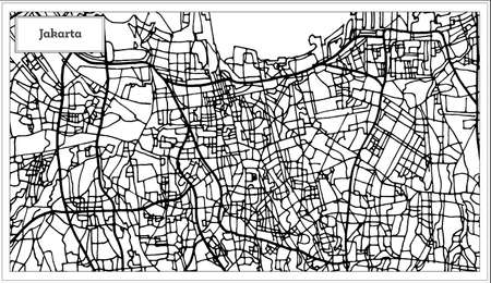 Jakarta Indonesia City Map in Black and White Color. Outline Map. Vector Illustration. Stock Vector - 92826645