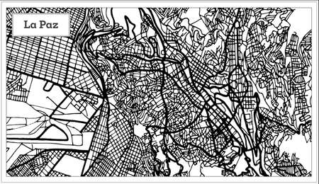 La Paz Bolivia City map in black and white color. Vector illustration. Outline map.