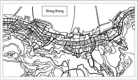 Hong Hong China City Map in Black and White Color Vector Illustration. Illustration