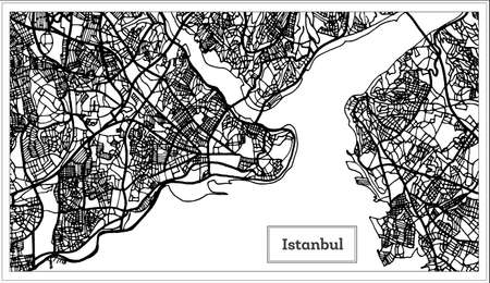 Istanbul Turkey Map in Black and White Color Vector Illustration.