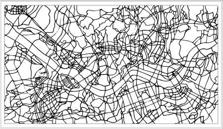 Seoul Korea City Map in Black and White Color. Vector Illustration. Outline Map.