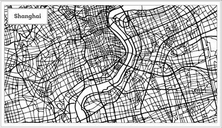Shanghai China City Map in Black and White Color. Vector Illustration. Outline Map. 向量圖像
