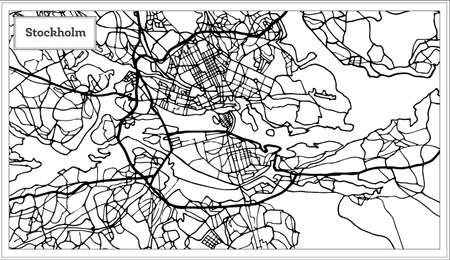 Stockholm Sweden Map in Black and White Color. Vector Illustration. Outline Map.