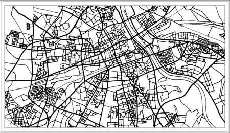 Warsaw Poland map in black and white color. Vector illustration. Outline map. Stock Illustratie