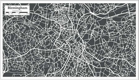 Birmingham UK city map in retro style outline map vector illustration. Illustration