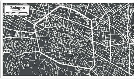 Bologna Italy city map in retro style.