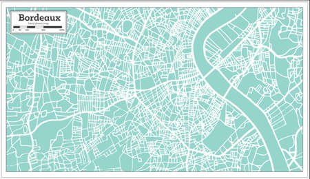 Bordeaux France city map in retro style outline map vector illustration.