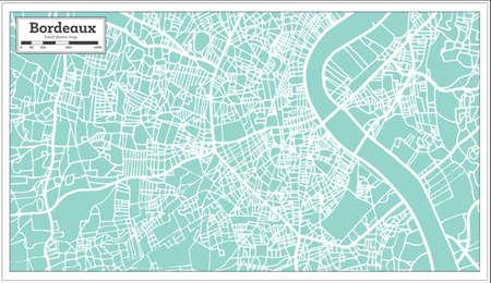 Mappa della città di Bordeaux Francia nella retro illustrazione di vettore della mappa del profilo di stile.