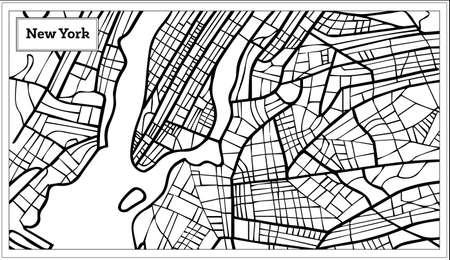 뉴욕 미국지도의 개요지도 흑백 색상. 일러스트