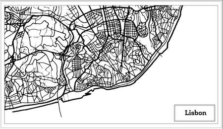 Lisbon Portugal Map in Black and White Color. Stock Illustratie