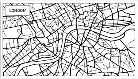 Outline map of London Map in Black and White Color.