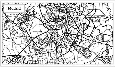 Outline map of Madrid Spain Map in Black and White Color.