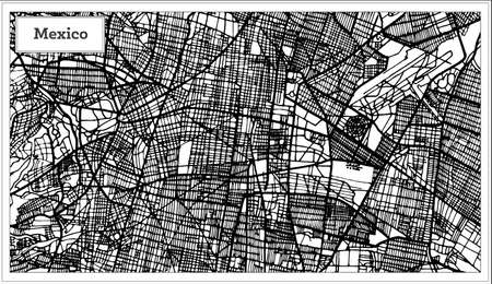 Outline map of Mexico City Map in Black and White Color.