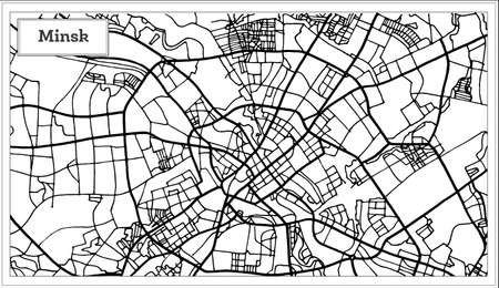 Outline map of Minsk Belarus City Map in Black and White Color.
