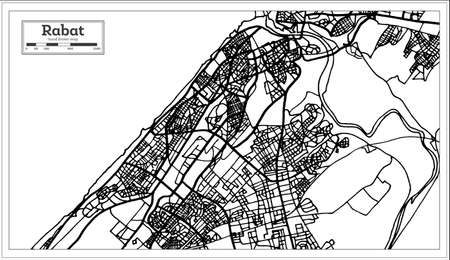 Rabat Morocco Map in Black and White Color. Vector Illustration. Outline Map.