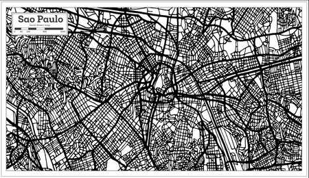 Sao Paulo Brazil City Map in Black and White Color. Vector Illustration. Outline Map. Illustration