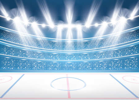 Ice hockey stadium with spotlights. Vector illustration.