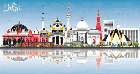 Delhi India City Skyline with Color Buildings, Blue Sky and Reflections. Vector Illustration. Business Travel and Tourism Concept with Historic Architecture. Delhi Cityscape with Landmarks.