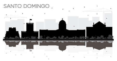 Santo Domingo Dominican Republic City skyline black and white silhouette with Reflections. Simple flat illustration for tourism presentation, banner, placard or web site. Santo Domingo Cityscape with landmarks. Illustration
