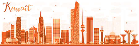 Abstract Kuwait City Skyline with Color Buildings. Vector Illustration. Business Travel and Tourism Concept with Modern Buildings. Kuwait Cityscape with Landmarks.  イラスト・ベクター素材