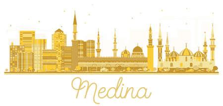 Medina Saudi Arabia City skyline golden silhouette. Vector illustration. Simple flat concept for tourism presentation, banner, placard or web site. Medina Cityscape with landmarks. Vetores