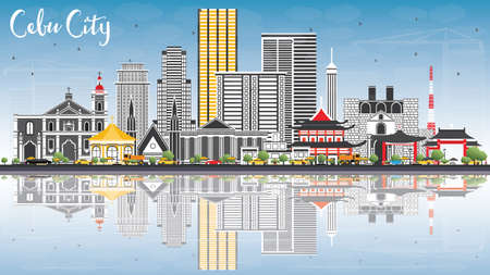 Cebu City Philippines Skyline with Gray Buildings, Blue Sky and Reflections. Vector Illustration. Business Travel and Tourism Illustration with Modern Architecture. Ilustração