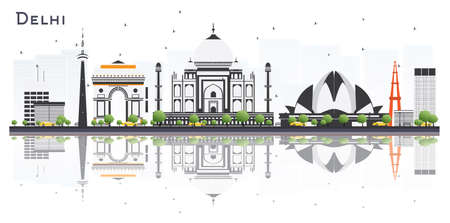 Delhi India City Skyline with Color Buildings and Reflections Isolated on White Background. Vector Illustration. Business Travel and Tourism Concept with Modern Architecture. Delhi Cityscape with Landmarks.
