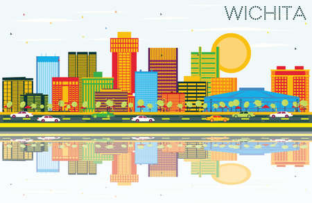 Wichita, Kansas USA city skyline with colorful buildings and blue sky reflections vector illustration. Business travel and tourism concept with modern architecture. Wichita cityscape with landmarks.  イラスト・ベクター素材