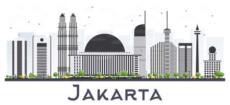 Jakarta, Indonesia city skyline with gray buildings isolated on white background vector illustration. Business travel and tourism concept with modern buildings. Jakarta cityscape with landmarks. Illustration