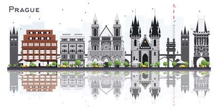 Prague, Czech Republic city skyline with gray buildings isolated on white background vector illustration. Business travel and tourism illustration with historic architecture. Prague cityscape with landmarks.