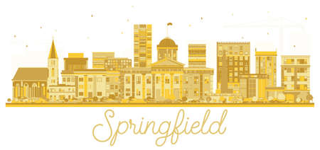 Springfield Illinois USA City skyline golden silhouette. Vector illustration. Simple flat concept for tourism presentation, banner, placard or web site. Springfield Cityscape with landmarks.