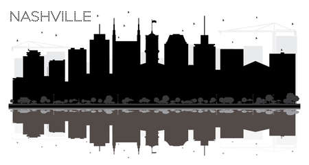 Nashville Tennessee USA City skyline black and white silhouette. Vector illustration. Business travel concept. Nashville Cityscape with landmarks