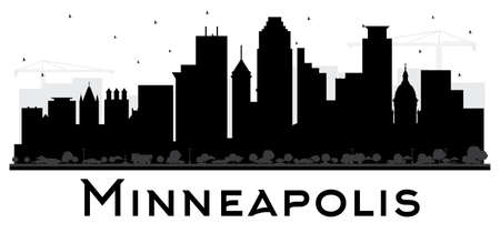 Minneapolis Minnesota USA Skyline Black and White Silhouette. Vector Illustration. Simple Flat Concept for Tourism Presentation, Placard. Business Travel Concept. Minneapolis Cityscape with Landmarks.