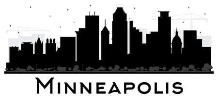 Silhueta preto e branco da skyline de Minneapolis Minnesota EUA. Ilustração vetorial. Conceito plano simples para apresentação de turismo, cartaz. Conceito de viagens de negócios. Arquitectura da cidade de Minneapolis com marcos.