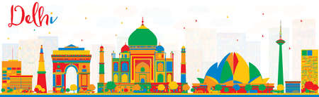 Delhi India Skyline with Color Buildings. Vector Illustration. Business Travel and Tourism Concept with Historic Architecture. Image for Presentation, Banner, Placard.