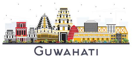 흰색 배경에 고립 된 색 건물 구와 하티 인도 도시의 스카이 라인. 벡터 일러스트 레이 션. 역사적인 건축과 비즈니스 여행 및 관광 개념입니다. 랜드